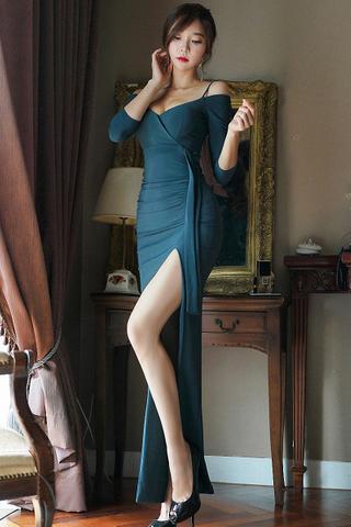 BACKORDER - Celsa Cold Shoulder Slit Dress