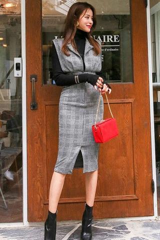 BACKORDER - Daphne Plaid Pinafore Dress