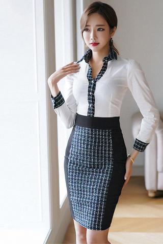 BACKORDER - Elsa Collar Sleeve With Skirt Set