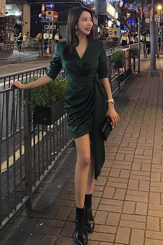 BACKORDER - Karlis Sleeve Gathered Knot Dress In Green