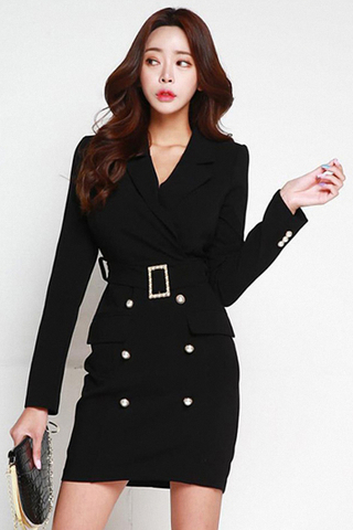 BACKORDER - Kayce Double Breasted Sleeve Dress