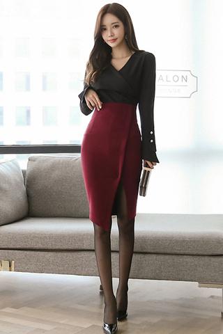 BACKORDER - Vilah Foldover Sleeve Top With Skirt Set