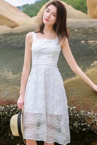 INSTOCK - Felnis Embroidery Crochet Overlay Dress In White & Mint Green