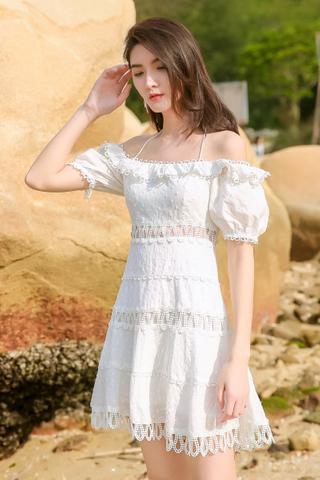BACKORDER - Kyria Off Shoulder Crochet Dress In White