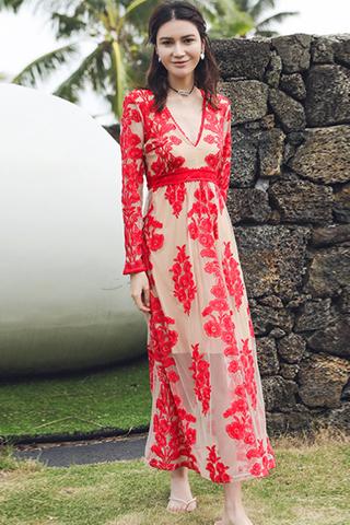 BACKORDER - Ashrine V-Neck Embroidery Dress In Red