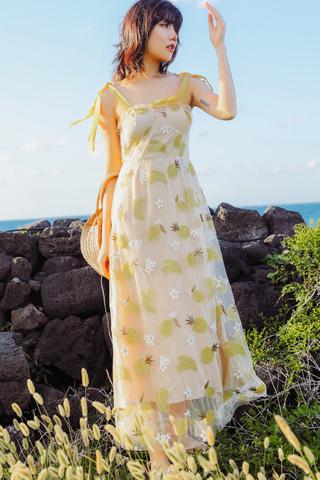 INSTOCK - Elthe Banana Pineapple Lemon Crochet Dress