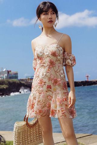 INSTOCK - Kaslyn Floral Crochet Cold Shoulder Dress