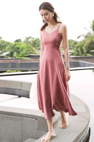 BACKORDER -Kerdis V-Neck Bareback Dress In Pink