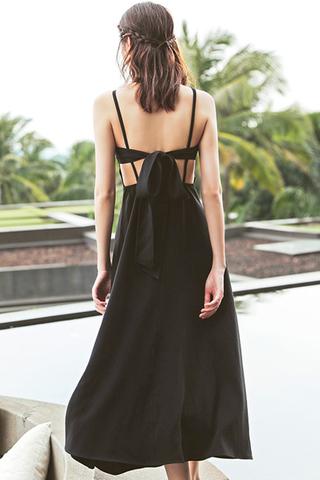 BACKORDER -Kerdis V-Neck Bareback Dress In Black