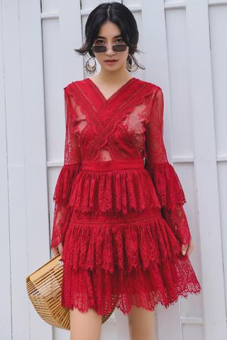BACKORDER - Khayla Lace Sleeve Layered Dress