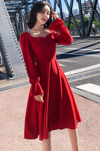 BACKORDER - Kllvia Cutout Sleeve A-line Dress In Red