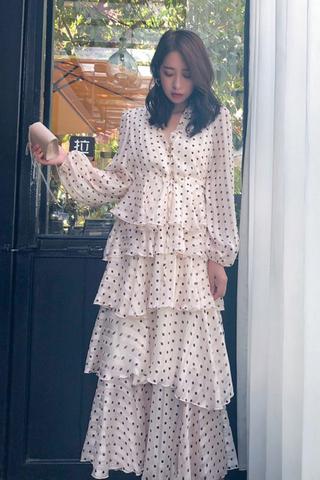 BACKORDER -Kvondra Polka Dot Layered Dress