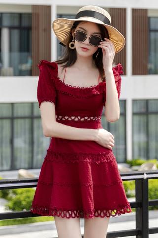 INSTOCK - Kyria Off Shoulder Crochet Dress In Wine Red