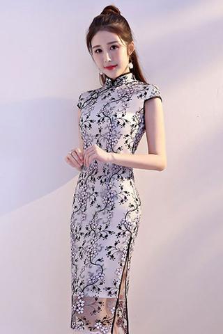 BACKORDER - Raquine Floral Overlay Lace Cheongsam Dress In Black