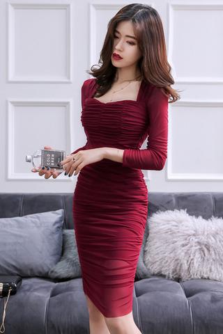BACKORDER - Tharin Ruched Sleeve Dress