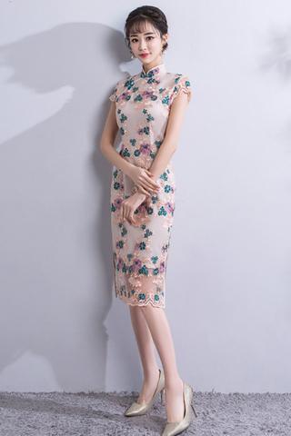 INSTOCK - Verini Floral Lace Overlay Cheongsam Dress