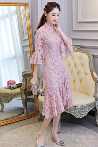 BACKORDER - Qlara Bell Sleeve Ruffle Hem Cheongsam Dress In Pink