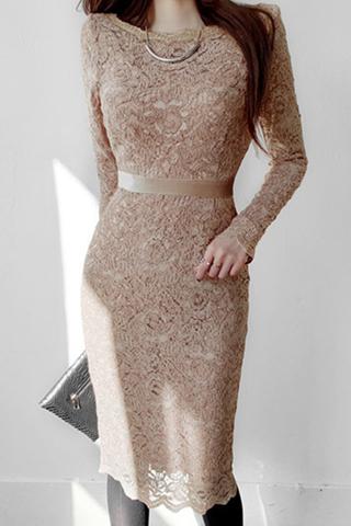 INSTOCK - Evisa Sleee Lace Sleeve Dress In Khaki