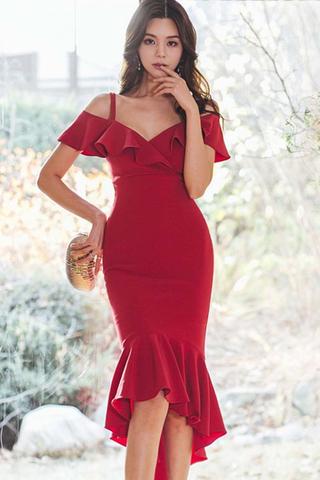 BACKORDER - Agnesa Cold Shoulder Cascade Hem Dress