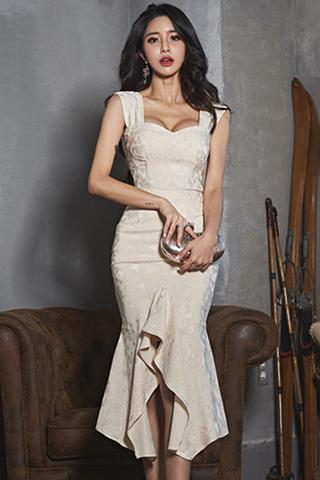 BACKORDER - Alevin Cutout Crop Top With Cascade Ruffle Skirt Set