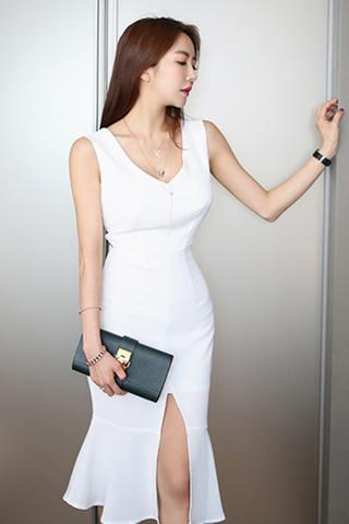 BACKORDER - Kalia Cutout Ruffle Hem Slit Dress In White