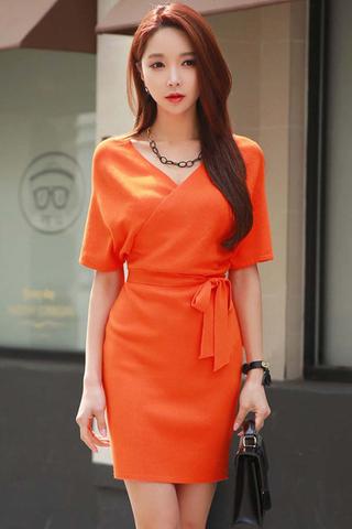 BACKORDER - Pamell Knit Ribbon Tie Dress In Tangerine Orange