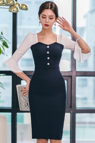 BACKORDER - Vanelle Bell Sleeve Cutout Dress