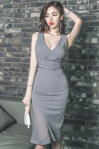 BACKORDER - Balcy Side Mesh Ruffle Dress