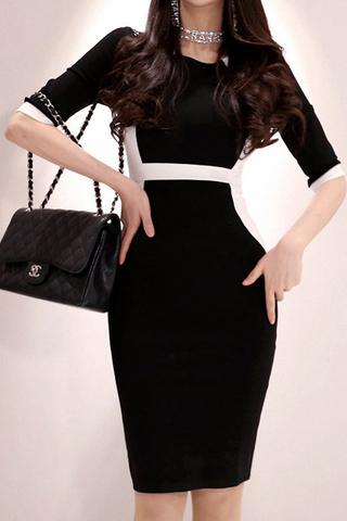 BACKORDER - Karthe Sleeve Colorblock Dress