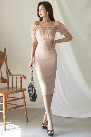 BACKORDER - Kosey Off Shoulder Shirring Mesh Dress In Pale Pink