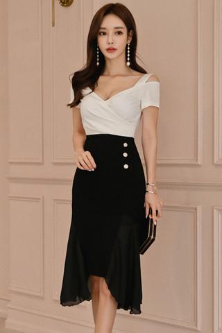 INSTOCK - Marlene Cutout Shoulder Side Mesh Asymmetrical Dress