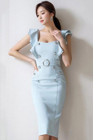 BACKORDER - Mervy Ruffle Sleeve Breasted Midi Dress