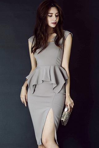 BACKORDER - Pasey Cutout Peplum Side Slit Dress