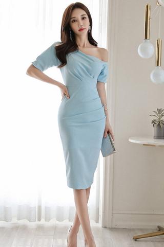 INSTOCK - Ralyne One Shoulder Midi Dress In Sky Blue