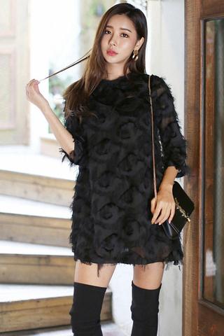 BACKORDER - Brielle Sleeve Fringe Mini Dress