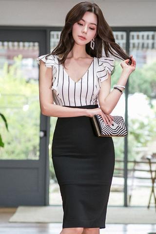 BACKORDER - Claris Stripe Ruffle Sleeve Dress