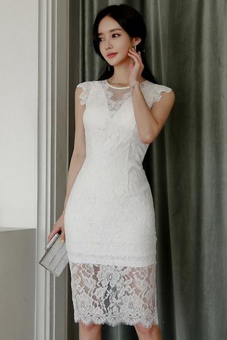BACKORDER - Jagina Mesh Lace Hem Dress
