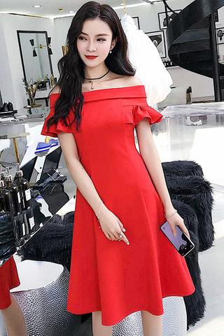 BACKORDER - Janisha Off Shoulder A-Line Dress In Red