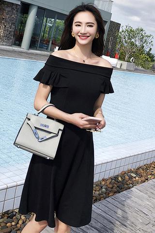 BACKORDER - Janisha Off Shoulder A-Line Dress In Black