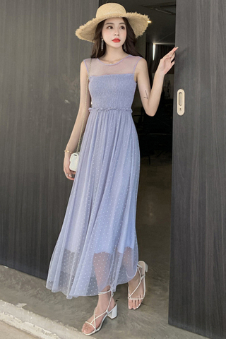 BACKORDER - Jenia Polka Dot Mesh Shirring Dress