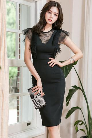 BACKORDER - Karelle Lace Mesh Dress In Black