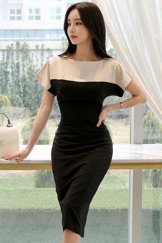 BACKORDER - Kielyn Color Block Midi Dress