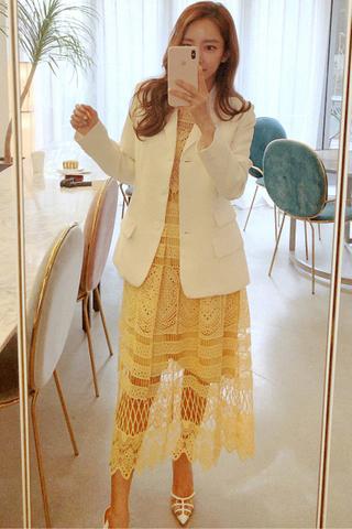BACKORDER - Lynna Crochet Sleeve Midi Dress