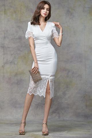 BACKORDER - Maerlla Sleeve Lace Hem Dress In White