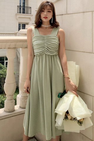 BACKORDER - Valera Ruched Layered Cutout Dress In Pale Green