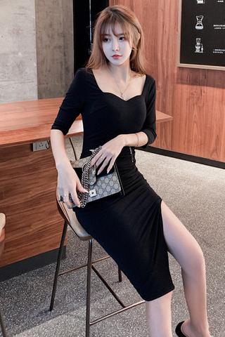 BACKORDER - Almira Cutout Sleeve Asymmetrical Dress