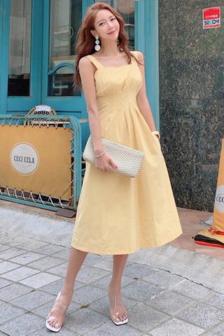 BACKORDER - Chloe Sleeveless Midi Dress Pale Yellow