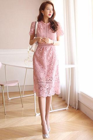 BACKORDER - Flenn Crochet Sleeve Midi Dress