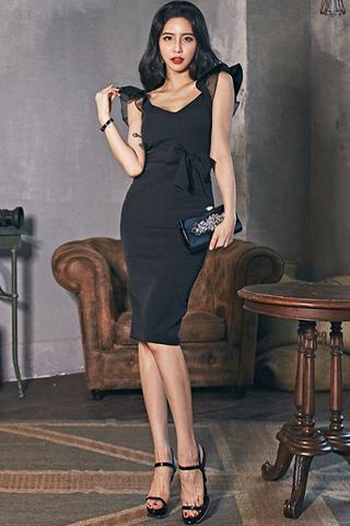 BACKORDER - Kalma Mesh Sleeve Ribbon Tie Dress