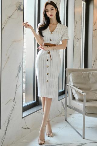 BACKORDER - Karie Front Button Pinstripe Dress